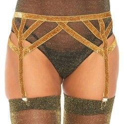 LEG AVENUE LUREX ELASTIC GARTER BELT ONE SIZE