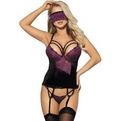 SUBBLIME CORSET THONG AND BLINDFOLD BLACK AND PURPLE S/M
