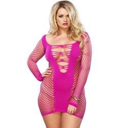 LEG AVENUE SEAMLESS NET MINIDRESS PINK PLUS SIZE