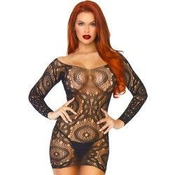 LEG AVENUE LACE LONG SLEEVED MINI DRESS ONE SIZE
