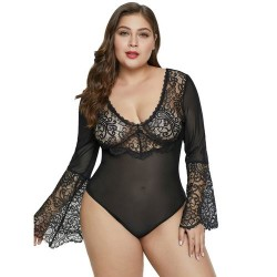 QUEEN LINGERIE PLUS SIZE TEDDY NEGRO XL