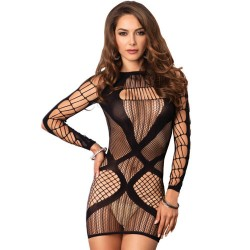 LEG AVENUE MULTI MINI DRESS NEGRO